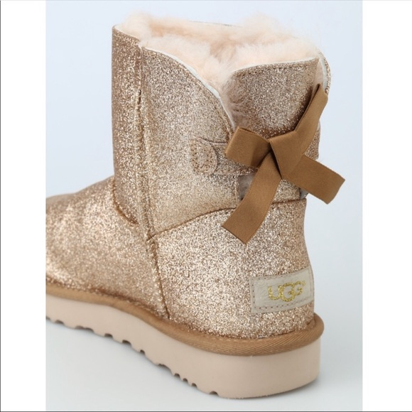 UGG Shoes | Ugg Bailey Bow Gold Glitter